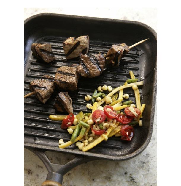 Thai Beef Kabobs with Garden Vegetable Saute