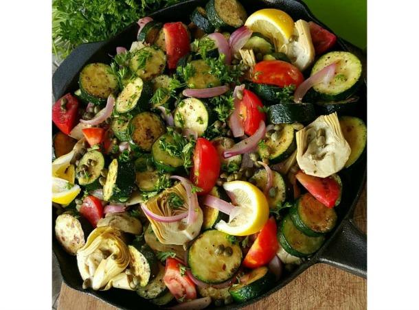 Greek Inspired Summer Veggie Skillet