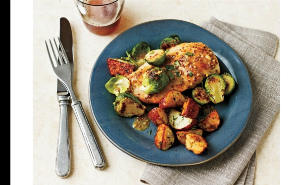 Chicken & Brussel Sprouts with Mustard Sauce