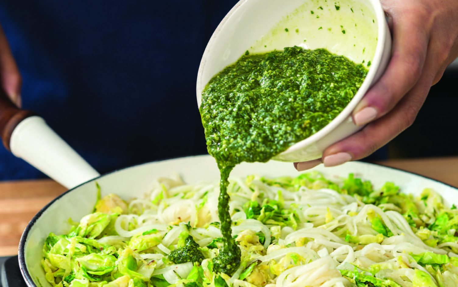 "Pesto ""Zoodles"" with Brussel Sprouts"