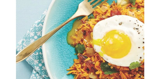 Sweet Potato Hash with Sunny Side Up Eggs