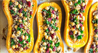 Stuffed Butternut Squash with Quinoa, Cranberries and Chickpeas